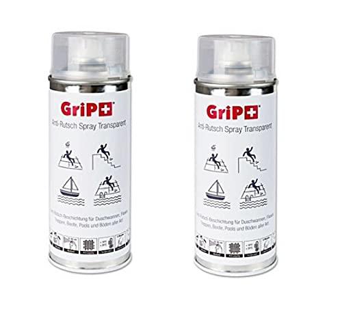 Grip + 2 x Espray antideslizante transparente para platos de ducha, azulejos, escaleras, barcos y suelos de todo tipo
