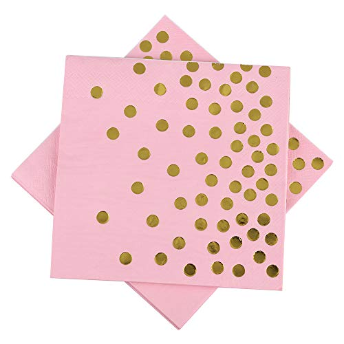 Pink Paper Napkins 6.5 50counts 3-Ply Pink and Gold Foil Dots Disposable Luncheon Napkins for Wedding Birthday Baby Shower Graduation Celebrations Weekend Party