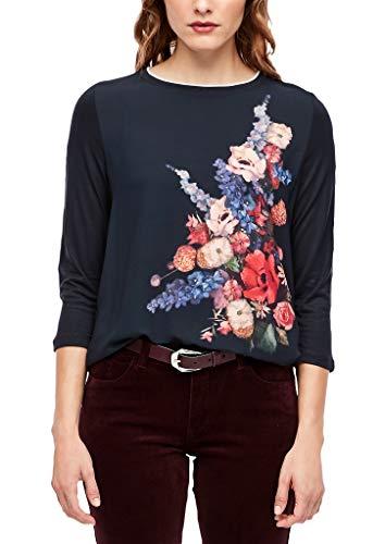 s.Oliver RED Label Damen 3/4-Arm-Shirt mit Blusenfront Blue Bouquet Print 44
