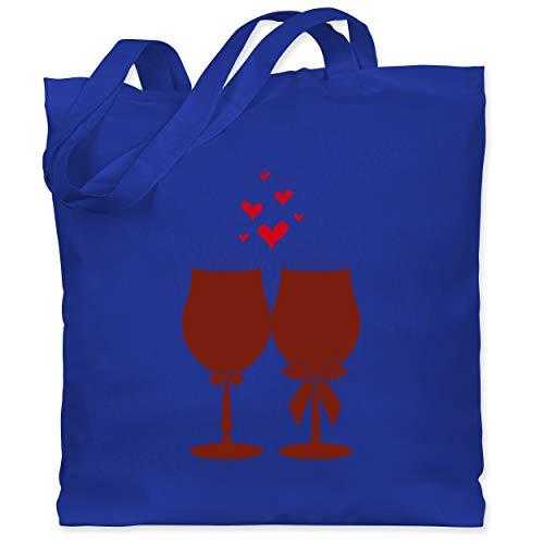 Shirtracer Symbole - Weingläser Wein - Unisize - Royalblau - Anzug - WM101 - Stoffbeutel aus Baumwolle Jutebeutel lange Henkel