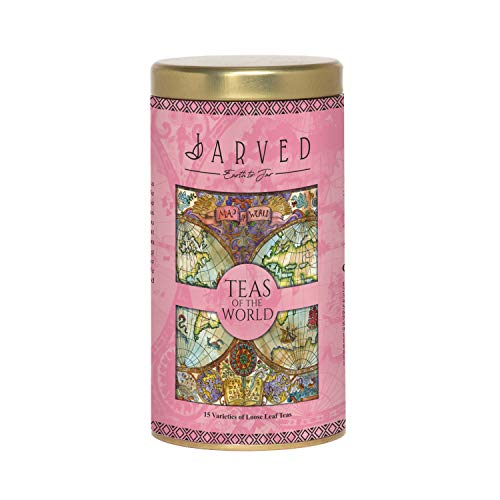 Jarved Teas of The World Gift Set-15 Loose Leaf Teas from 10+ Countries   Premium Tin Box