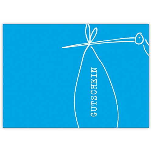 In 5-delige set: Baby cadeaubon met storch voor babyshower/verjaar/doop, blauw • liefdevolle welkom, wenskaart, cadeaukaart voor moeder en kind, individuele babykaart voor medewerkers, familie, vrienden en collega's
