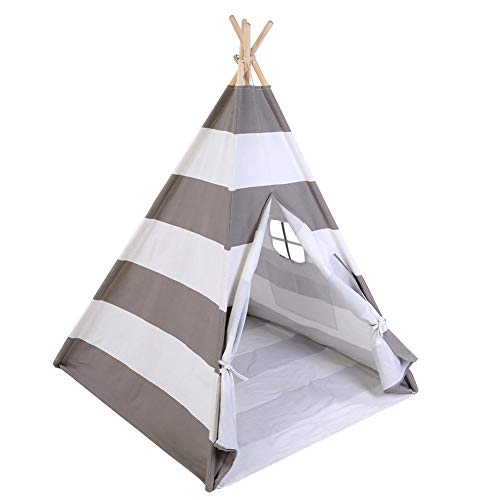 Cocoarm Jungle Teepee Kids Tent, Kids Teepee With Carpet Indian Tent With Window Toddler Garden Tents Play Tent Girls Boys Portable for Home Outdoor 120 * 120 * 145cm(Gris et Blanc)