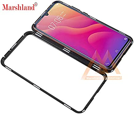 Marshland 360° Full Body Transparent Case Back Tempered Glass with Magnetic Adsorption Metal Strong Magnets Aluminum Frame Back Cover Compatible with Vivo V11i