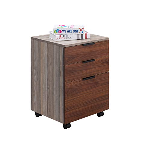 JJS 3 Drawer Rolling Wood File Cabinet with Locking Wheels, Home Office Portable Vertical Mobile Wooden Storage Filing Cabinet for A4 or Letter Size, Brown