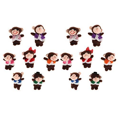 HomeDecTime 14pcs Monos Marionetas de Dedo de Animales Muñecos de Peluche Suaves Props Juguetes para Contar Historias