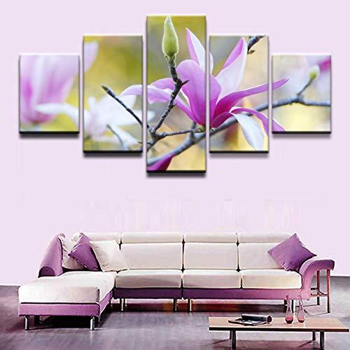 ZZHPlanet Klassisch Leinwandbilder Wohnkultur HD Drucke 5 Stücke Die Mulan Blüten Im Frühjahr Gemälde Poster Wohnzimmer Wandkunst Rahmen