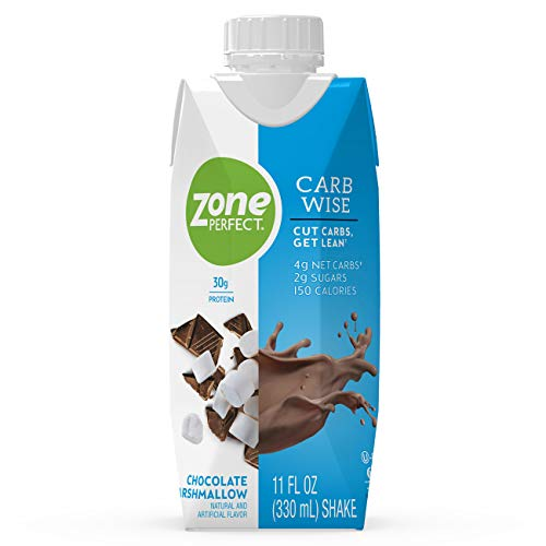 ZonePerfect Carb Wise High-Protein Shakes, Chocolate Marshmallow Flavor, for A Low Carb Lifestyle, with 30g Protein, 11 fl oz, 12 Count