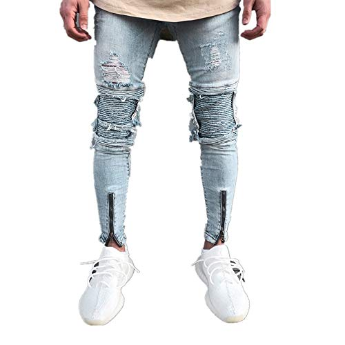 Men Jeans Daoroka Men's Ripped Slim Fit Straight Zipper Denim Pants Vintage Style Motorcycle with Broken Holes (32, Blue)