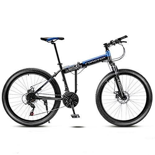 Pieghevole Mountain Bike 26 Pollici Donna,Velocità Bici Biammortizzata Biciclette Da Strada Uomo,Adulto Bici Da Strada Freni A Disco Carbonio Blu
