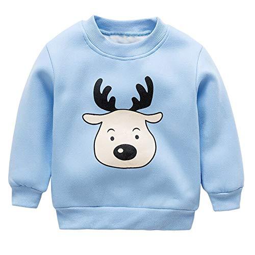 Riou Weihnachten Baby Kleidung Set Kinder Pullover Pyjama Outfits Set Familie Kleinkind Kinder Mädchen Jungen Langarm Weihnachten Deer Tops Sweatshirt Warme Kleidung (12M, Blau)