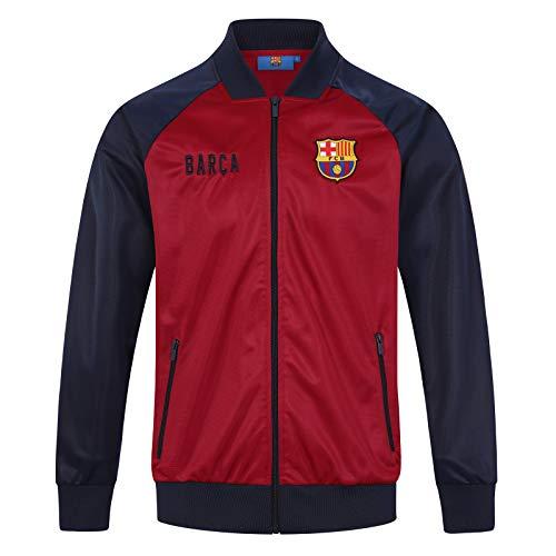 FC Barcelona - Herren Trainingsjacke im Retro-Design - Geschenk für Fußballfans - Rot - XXL