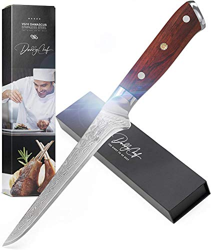 Damascus Boning Knife 6 Inch Blade - Japanese VG10 67 Layer Stainless Steel - Kitchen Granton Edge Professional and Home - Best Outdoor carving fillet chefs knives - Ergonomic G10 Wood Handle