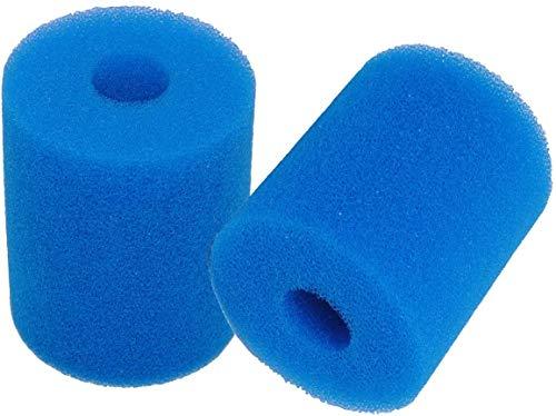 Poweka Esponja de Filtro de Piscina para Intex Tipo H, Cartuchos de Filtro de Esponja Reutilizable y Lavable para Piscina Jacuzzi SPA Hidromasaje (2 Piezas Azul)