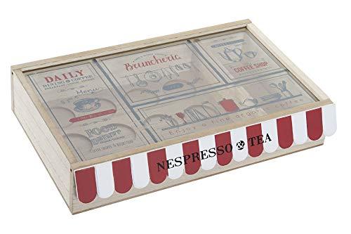 Space Home - Dispensador de Cápsulas de Café e Infusiones - Caja de MDF para Almacenaje de Cápsulas y Bolsitas de Té - 30 x 19,5 x 6 cm