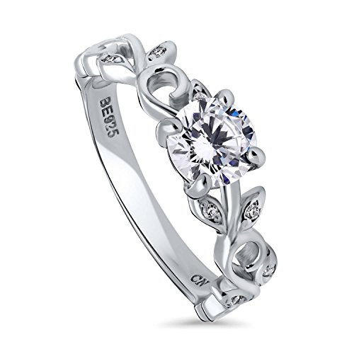 BERRICLE Rhodium Plated Sterling Silver Round Cubic Zirconia CZ Solitaire Leaf Filigree Promise Engagement Ring 0.9 CTW Size 6