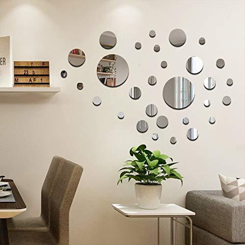 32Pz Tondo Specchio Adesivo Adesivi Murali Acrilico, Specchi Adesivi da Parete, 3d Sticker Muro Acrilico Decorazioni per la casa, per Soggiorno, Camera da Letto, Interni Decorazione