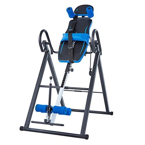 HIRAM Schwerkrafttrainer Inversionsbank Inversionstisch mit Rückenlehnen und Knöchelstütze klappbarer Inversionstisch Multifunktionsgerät Rückentrainer Klimmzugstange, Inversion bis 180 Grad (Blau)