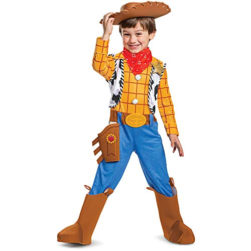 Disney Pixar Woody Toy Story 4 Deluxe Boys' Costume, Multicolor, Small (4-6)