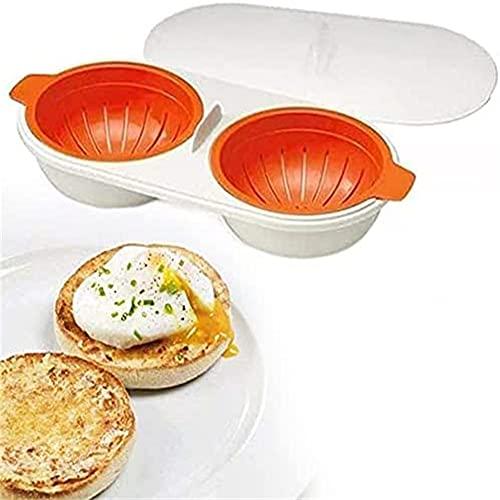 Pineocus Caldera de huevo de doble taza Drenaje Caldera de huevo portátil para microondas Característica antiadherente Huevera Poaching tazas Microondas Vapor Cocina Gadg