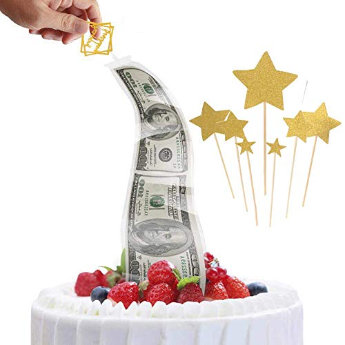 Money Cake Pull Out Kit, Cake Money Box with Happy Birthday Star Cake Toppers, Cake Atm Money Box