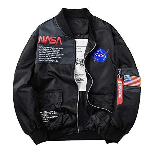 Mens Bomber Jacket, NASA MA-1 Military Flight Jacket Full Zip Coat Windbreaker Black