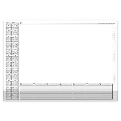 Schreibtischunterlage mit 2-Jahres-Kalender I DIN A2 I 40 Blatt I aus Papier zum Abreißen I Kalendarium 2020 2021 I mit Kantenschutz I dv_663