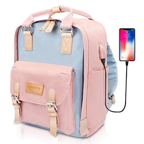 Pink Backpack for Women Keenstone Cute School Bookbag with USB Charging Port 14 Inch College Laptop Backpack, Travel College Book Bag Casual Daypack for Student