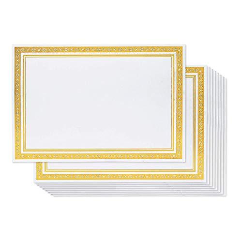 Belle Vous Carta Certificati (50 Pezzo) - A4 180GSM Bianco Carta Pergamena con Bordo In Lamina D'oro - Adatto per Laserjet Stampante, Competizioni, Cerimonie, Premi, Uso Orizzontale e Vertical