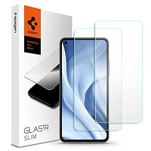 Spigen ガラスフィルム Xiaomi Mi 11 lite 5G 用 保護 フィルム 2枚入