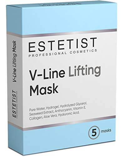 V Shaped Slimming Face Mask - Double Chin Reducer, Face Lift Tape Tightening Mask - Anti Aging, Anti Wrinkle, Firming, Jawline Slimmer (5 Pack)