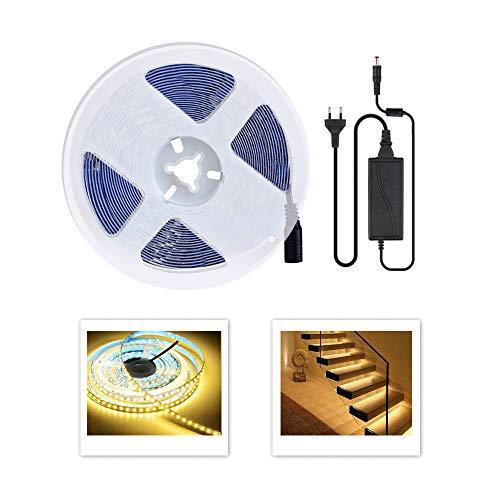 5m LED Streifen Set 600 LEDs Lichtband mit Netzteil, 2835 SMD Strip Kit Licht Band Leiste Lichtleiste, Warmweiß, 12V Innenbeleuchtung für Deko Party Küche Weihnachten,Dimmbar [Energieklasse A+]