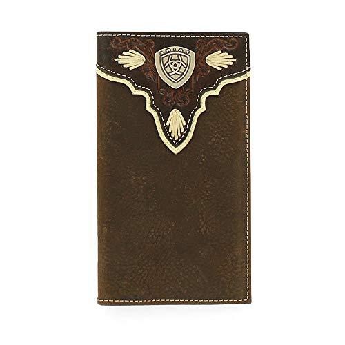 Ariat Men's Dark Distressed Trim Shield Rodeo Western Wallet, Brown, One Size