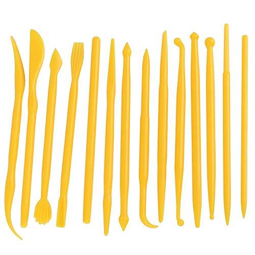 14 piezas de cerámica de arcilla juego de herramientas con estuches de plástico modelado de cerámica kits de herramientas de escultura para moldear(yellow)