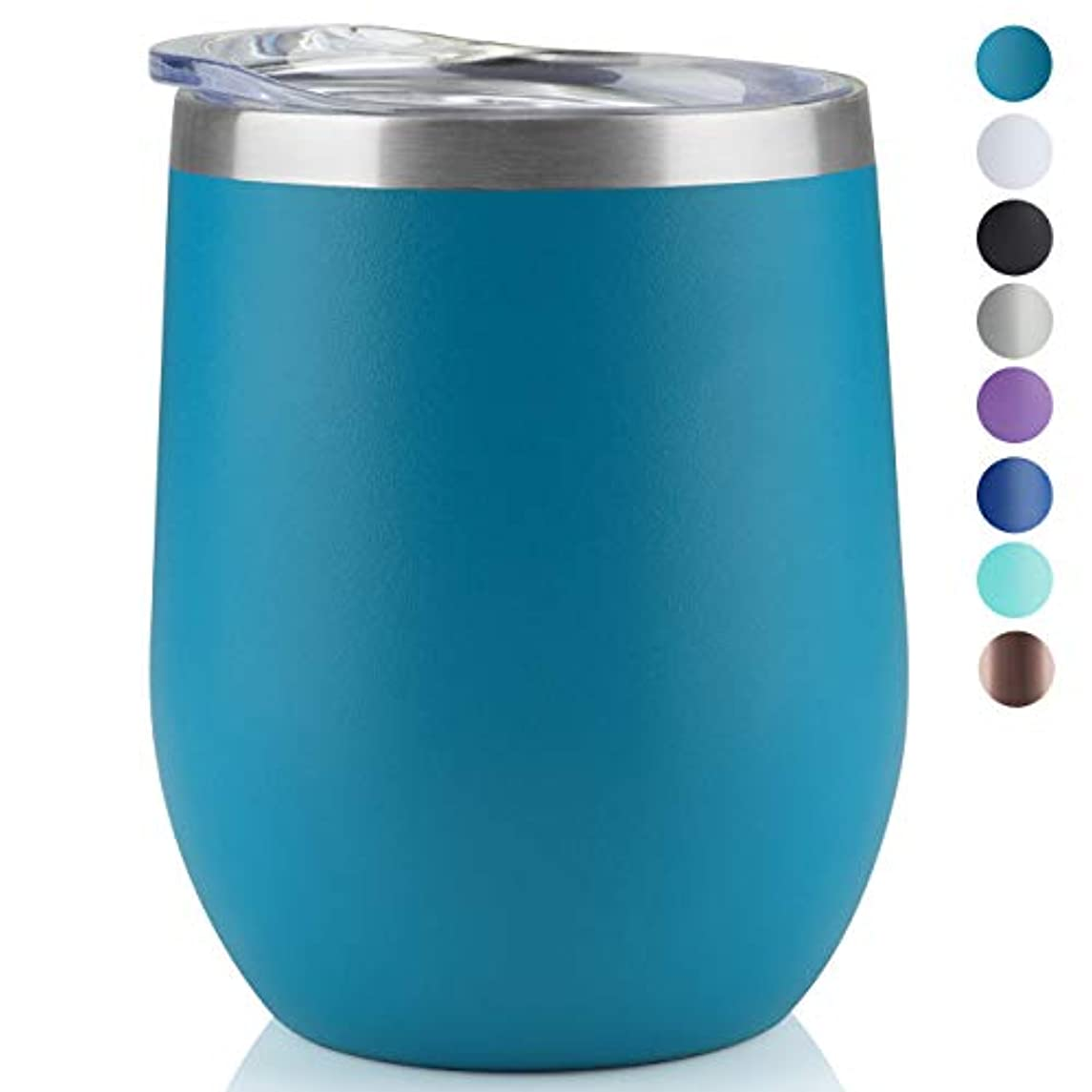 MUCHENG 12oz Insulated Cooling Cups,1-Pack, Wine Tumbler with Lid, Stemless Stainless Steel Insulated Wine Glass Double Wall Durable Coffee Mug, for Champaign, Cocktail, Beer, Office use (Lake Blue)