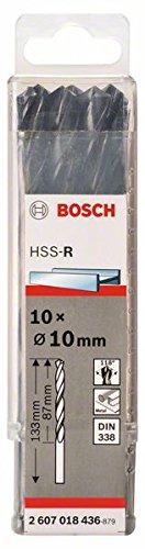 Bosch Pro Metallbohrer HSS-R rollgewalzt (10 Stück, Ø 10 mm)