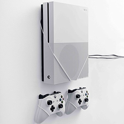 FLOATING GRIP Wall Mounts for 1x XBOX One S + 2x XBOX Controllers. Color: WHITE. Storage your XBOX on the wall right next to your TV. Produced in Europe since 2014.