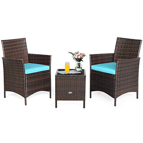 RELAX4LIFE 3 Pieces Patio Rattan Furniture Set with Glass Coffee Table & Cushions Outdoor Conversation Set for Poolside Balcony Backyard Lawn Porch 3 Pieces PE Rattan Patio Set (Turquoise)