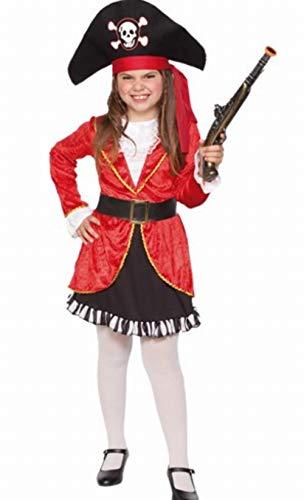 Fyasa 706356-T02 - Disfraz de pirata para nia de 7 a 9 aos, color rojo, multicolor, mediano