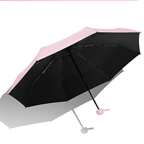 WLY Outdoor Parasol Color Plastic Umbrella New Mini Ultralight Umbrella Creative Folding Sunny And Rainy Capsule Umbrella Sun Protection And UV Protection 99%,Pink