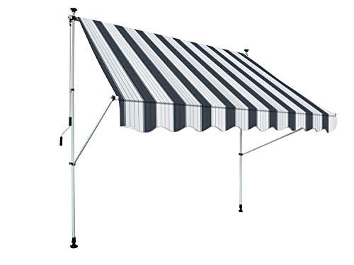 GARDINIA Klemm-Markise Föhr zum Kurbeln, Sonnenschutz für Terrassen oder Balkone, 250 x 150 cm, Kurbellänge: 125 cm, Blau/Weiß