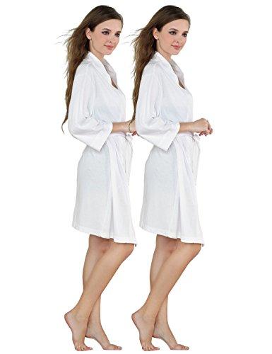 Godsen Women's Comfort Cotton Sleepwear Bathrobe (XS, 2 Packs White)