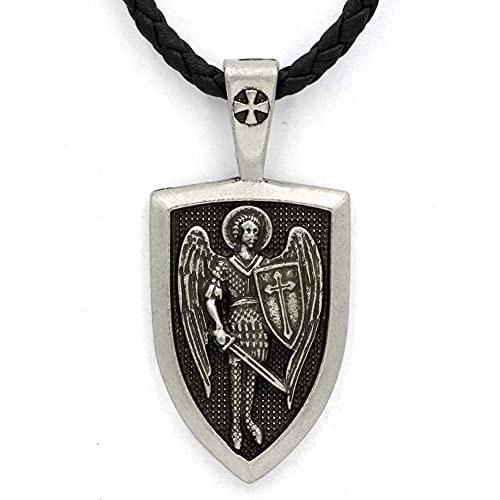 AMOZ Collar para Hombre, Collar con Colgante de San Miguel Arcángel, Cruz Cristiana, Medalla, Escudo, Oración, Protégeme, Amuleto Santo,Plata