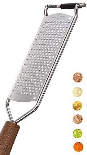 LNG Premium Zester Reibe (30x6cm) - Deine Hochwertige Parmesanreibe, Muskatnussreibe, Zitronenreibe, Ingwerreibe mit messerscharfen Edelstahl Klingen und Holzgriff