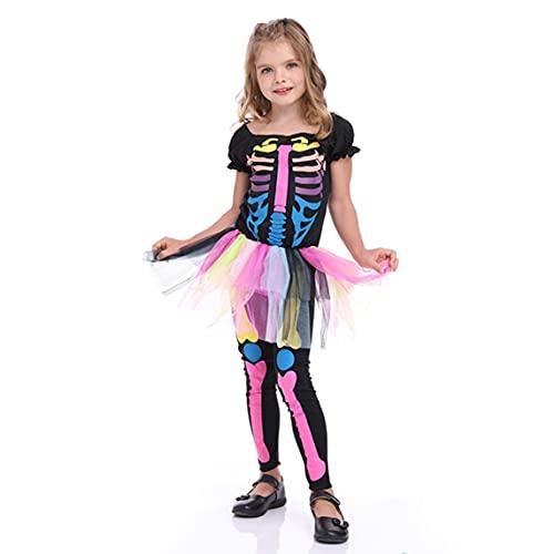 Lindo Disfraz De Princesa De Calavera De Hueso Rosa para Niña Conjunto De Disfraz De Hueso De Esqueleto De Moda Conjunto De Calavera De Niña De Color De Halloween - Multicolor L