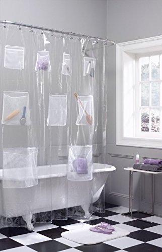 chenyu Duschvorhang mit Mesh Taschen PEVA Duschvorhang Mehrzweck-Badezimmer Aufbewahrung wasserdicht mildew-proof Pocket, durchsichtig, 180*180cm