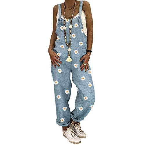 Sxgyubt Dames Casual Jumpsuits Strappy Tuinbroek Verstelbare Daisy Printing Brede Been Broek blauw XXL