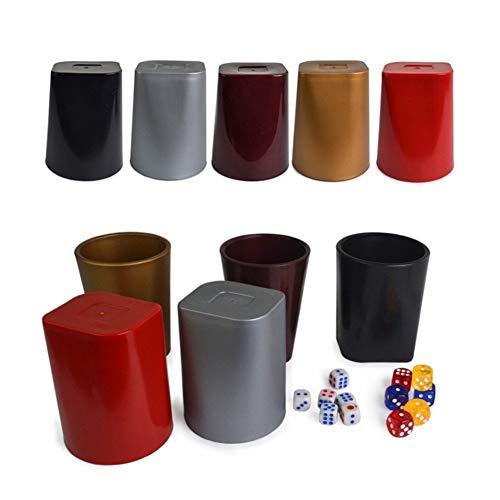 TX GIRL Kunststoff-Würfelbecher Mit 6 Weißen Würfelt Verdickte Kunststoff Bunte KTV Bar-Spielkasino-Schnitzen Muster Craps Sets (Color : Silver)