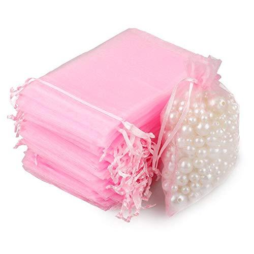 100 pz Sacchetti Regalo Caramella 7 x 9 cm Organza Borse per Bomboniera Nozze Confetti Favore Gioielli per Matrimonio Compleanno Natale