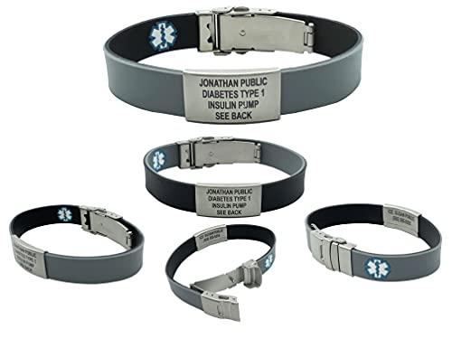Sport/Slim Reversible Waterproof Medical Alert Bracelet. Incl. 9 Lines Engraving. Black/Gray
